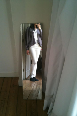 white Cheap Monday jeans - purple COS cardigan
