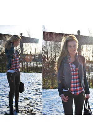 red Primark shirt - army green Zara jeans - black F&F jacket