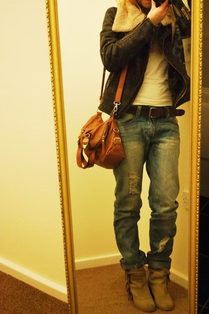 next jacket - Zara boots - periwinkle asos jeans - tawny new look bag