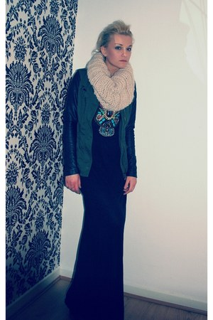 black second hand dress - dark green new look jacket - cream Primark accessories