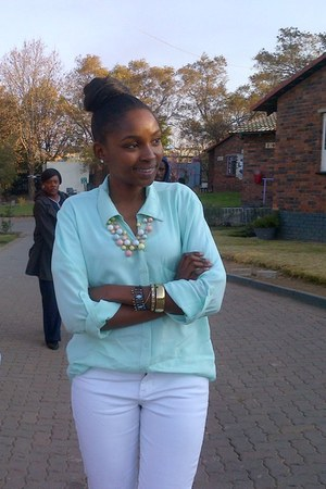 pastel mix Mr Price necklace - white denim cotton on jeans
