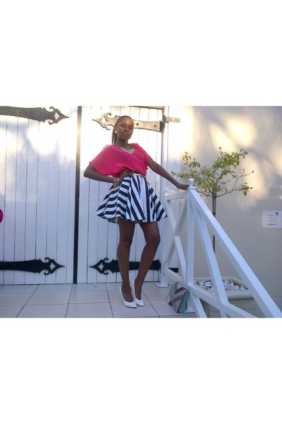 striped skirt RT skirt - white panted rage heels - neon pink fashion express top
