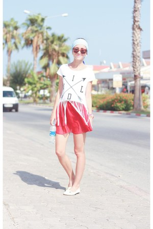 white new look top - ruby red Ebay skirt