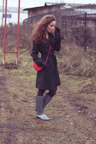 silver marmalato boots - black noname coat - red marmalato bag