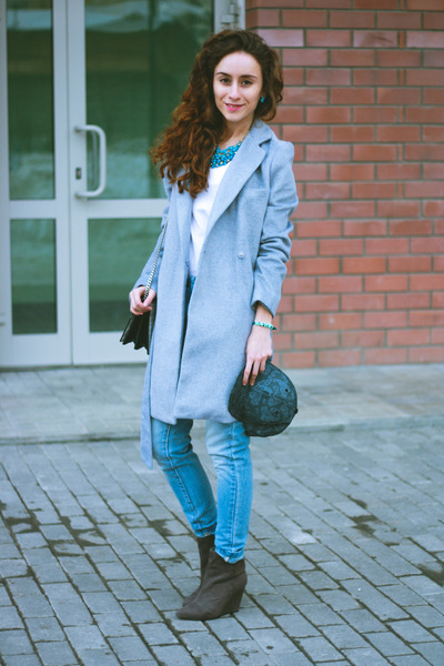 heather gray BeFree coat - sky blue BeFree jeans