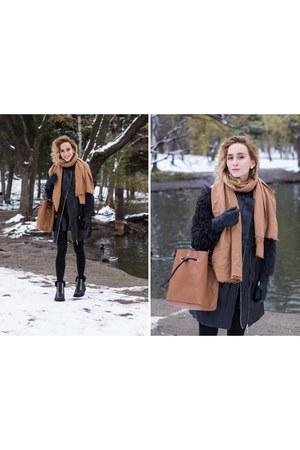 black H&M coat - brown H&M scarf