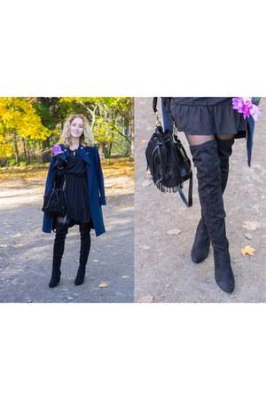 black Kari boots - black Sinsay dress - navy Mango coat - black Kari bag