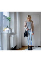 striped Urban Outfitters jeans - motorcycle Jeffrey Campbell boots - H&M bag