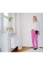 bubble gum H&M pants - gray H&M bag - white H&M top - black River Island heels