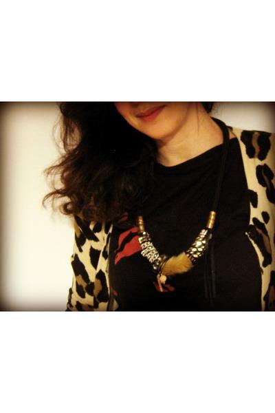 maslinda necklace - Mango t-shirt - animal print Topshop cardigan