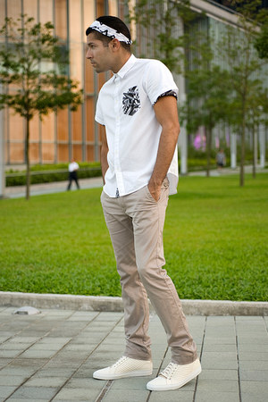 white bandana Uniqlo scarf - white Musium Div shirt - tan trousers Diesel pants