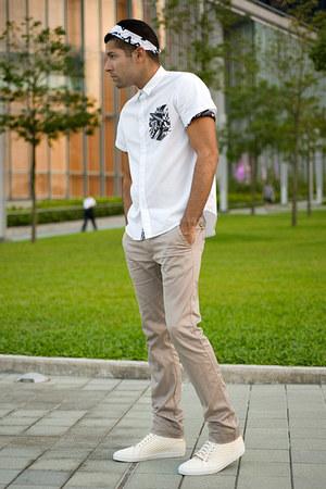 white bandana Uniqlo scarf - white Musium Div shirt - tan trousers Diesel pants