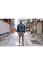 navy denim Topman jacket - green checks Dries Van Noten shirt
