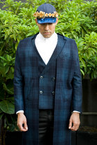 navy Six Lee coat - navy Six Lee hat - white calvin klein shirt