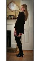black Karen Scott boots - red Charlotte Russe dress - black Charlotte Russe card