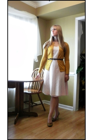 pink thrifted dress - gold merona cardigan - brown Xhileration shoes