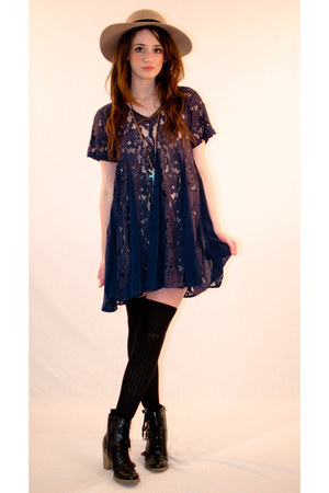 navy lace evil twin dress