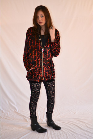 brick red evil twin jacket - black polyester evil twin pants
