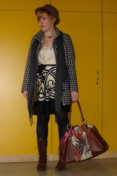 next dress - H&M coat - H&M scarf - united colors of benetton purse - Bata shoes