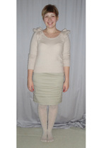 white H&M stockings - beige H&M sweater - beige reserved skirt