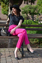 black Urban Outfitters hat - black La Redoute t-shirt - hot pink Zara pants