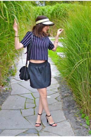 black Zara sandals - beige Camaïeu hat - black American Apparel skirt