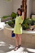 yellow Secret Scoop dress - blue andré bag - green Hipanema bracelet