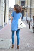 blue Zara jeans - white The Tops bag - light brown Stradivarius heels