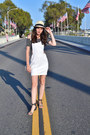 White-zara-dress-tan-hats-hat-black-zara-sandals-navy-american-apparel-top