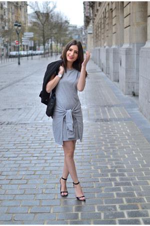black Kiabi vest - heather gray Boohoo dress - black Zara sandals