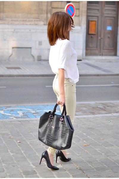 black Mango bag - white Zara blouse - eggshell Berenice pants