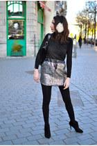 ivory Cop Copine skirt - black Zara boots - white SANDRO hat