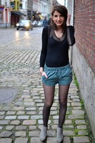 heather gray Zara boots - black All Saints dress - army green Zara shorts