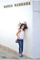 white Zara sunglasses - navy Zara jeans - blue new look heels - white Kiabi top