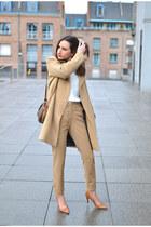 camel SANDRO coat - camel Mango pants - brown Zara heels