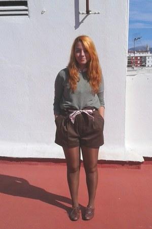 forest green Bershka sweater - dark brown shorts