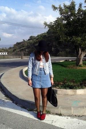 black black hat Claires hat - light blue denim jacket Topshop jacket