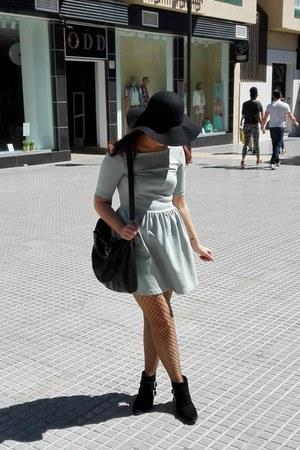 black ankle boots pull&bear boots - aquamarine backless dress Zara dress