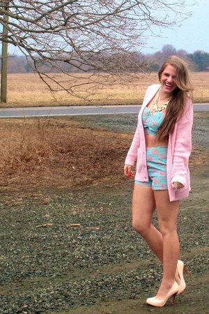 bubble gum knit cardigan cardigan - sky blue Forever 21 romper