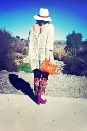 white Urban Outfitters hat - beige Anthropologie sweater - carrot orange purse