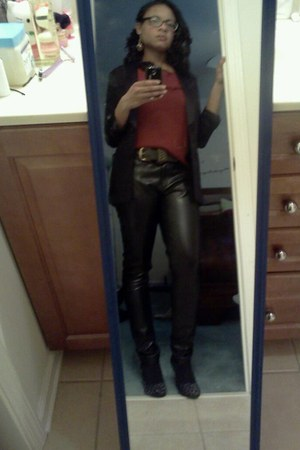 leather I heart ronson pants - tuxedo blazer H&M blazer - blouse