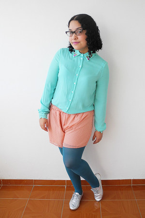 silver True Addiction shoes - turquoise blue tights