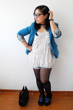 blue blazer - black tights - white polka dots blouse