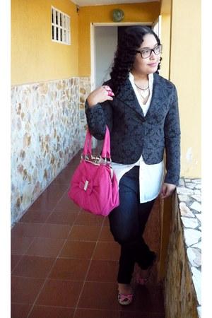 hot pink purse - dark gray jeans - black Naf Naf blazer - white blouse