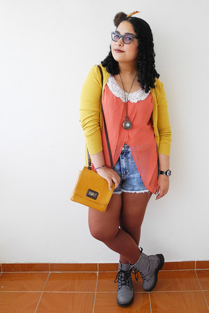 dark brown tights - blue shorts - mustard Zara cardigan - coral blouse