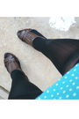 Blue-pima-cotton-dress-blue-shirt-black-tights-brown-shoes-white-sunglas