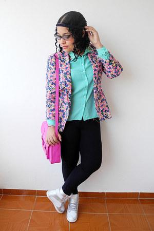navy Zara leggings - bubble gum floral print Zara blazer