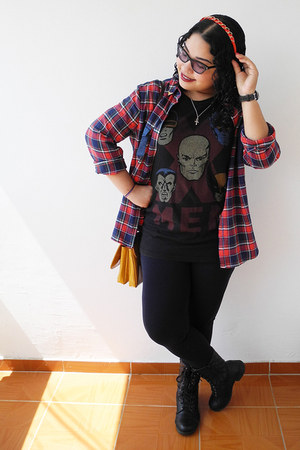 black Zara leggings - brick red shirt - mustard Zara bag - black Marvel t-shirt