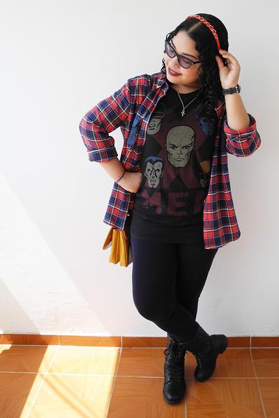 black Zara leggings - brick red shirt - mustard Zara bag - black Marvel t-shirt