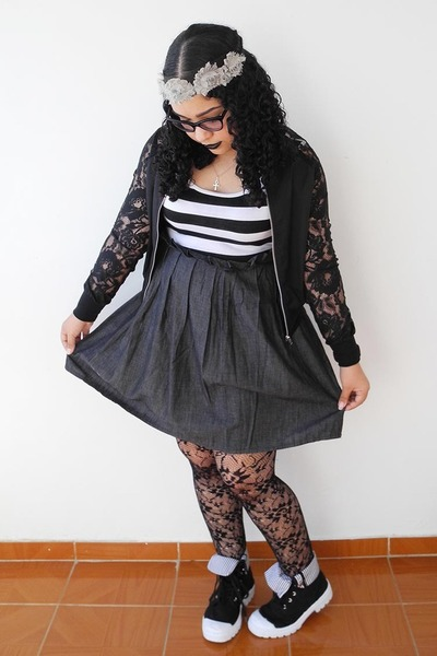 charcoal gray dress - black tights - silver hair accessory